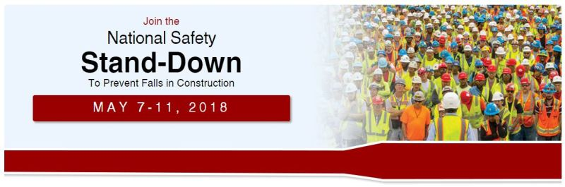 WCSA - National Safety Stand-Down to Prevent Falls in Construction 2018 OSHA Banner